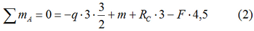 The equation of the sum of the moments with respect to the point A