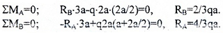 Расчет реакций опор по уравнениям моментов