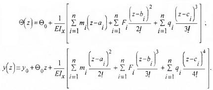 Уравнения МНП для расчета угловых и линейных перемещений при изгибе