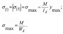 Формулы для расчета максимальных нормальных напряжений в балке при изгибе