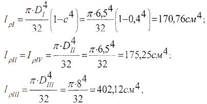 Расчет полярных моментов инерции сечений вала