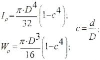 Полярные моменты инерции и сопротивления для кольцевого (полого) сечения вала