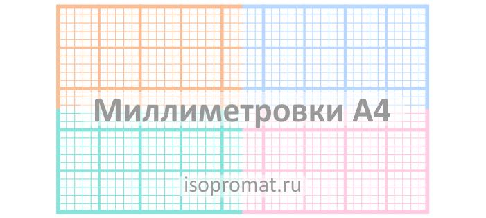 Миллиметровки формата A4 разных цветов