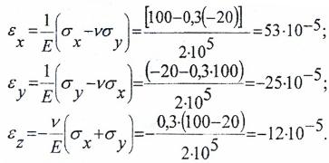 Расчет относительных линейных деформаций