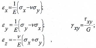 Формулы для расчета относительных угловых и линейных деформаций элемента