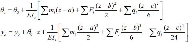 Уравнения метода начальных параметров
